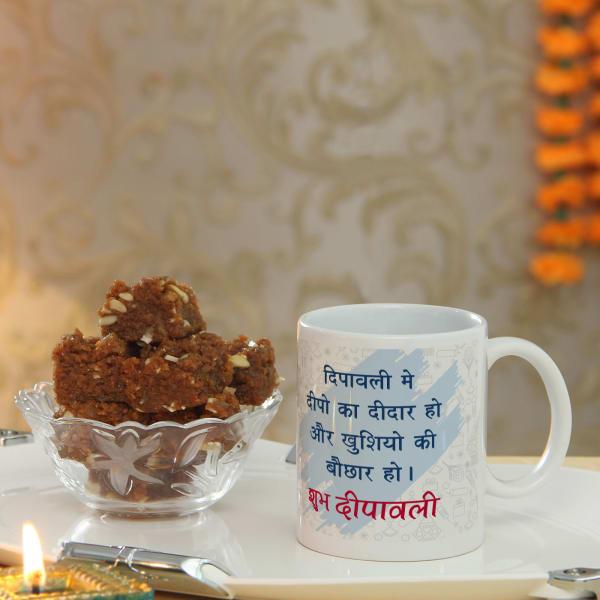 Shubh Deepawali Mug with Dodha Barfi