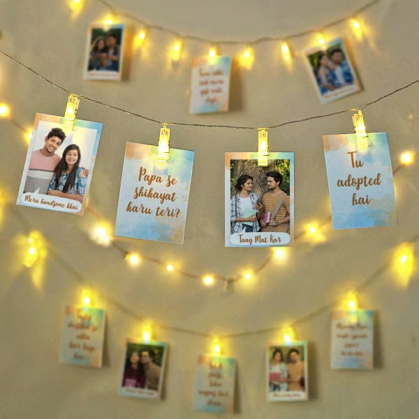 Sibling LED String Lights Personalized Photo Frames