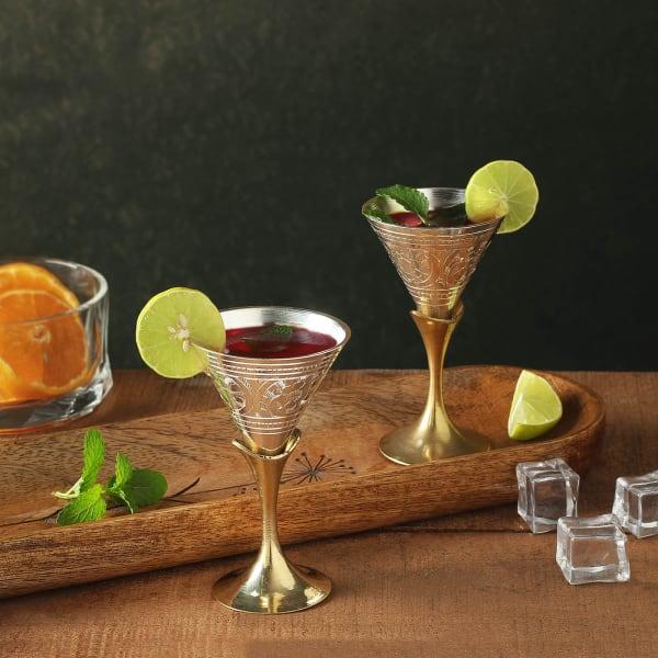 Silver Coated Wine Glasses Set