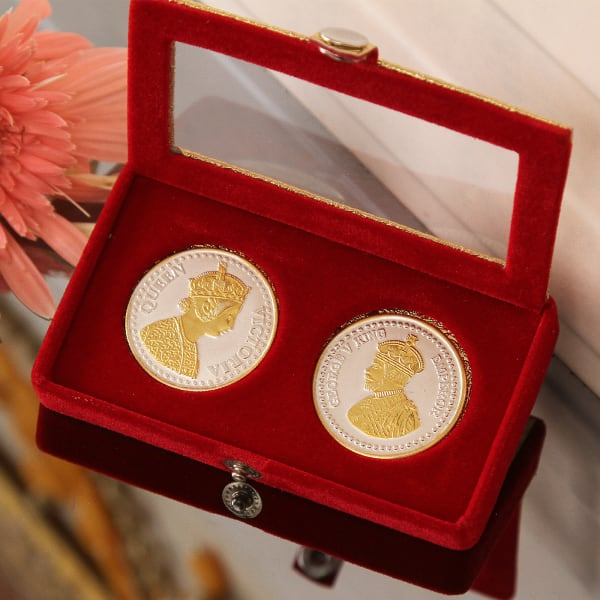 Silver Coins with King & Queen Embossing