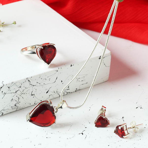 Silver Finish Red Heart Pendant Set with Ring