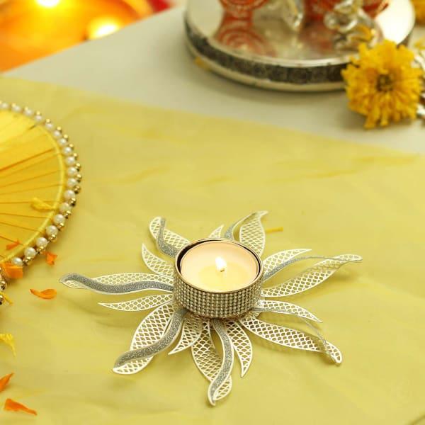 Silver Floral Designer Metal Tea Light Holder