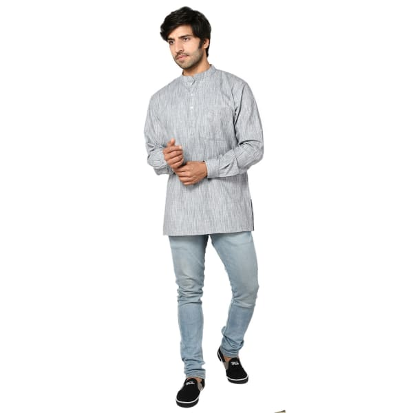 Silver Grey Cotton Short Kurta For Men