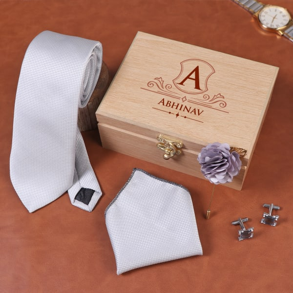 Silver grey Men's Accessory Set In Personalized Wooden Box