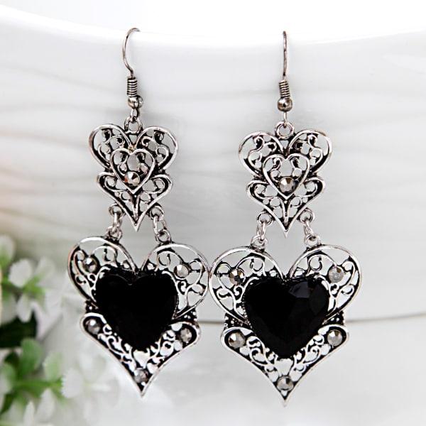 Silver Oxidised Black Stone Earrings