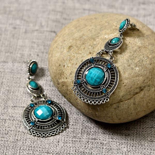 Silver Oxidised Sky Blue Stone Earrings for Women