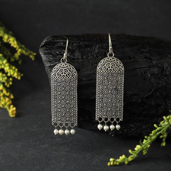 Silver Oxidized Matte Finish Geometric Dangler Earrings