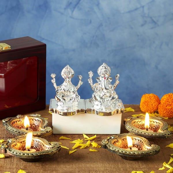 Silver Plated Laxmi Ganesha Idols and Clay Diya Set