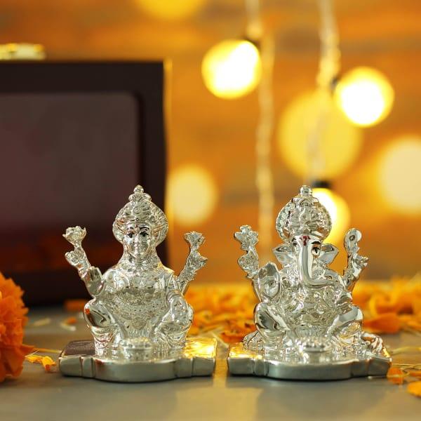 Silver Plated Laxmi Ganesha in Gift Box