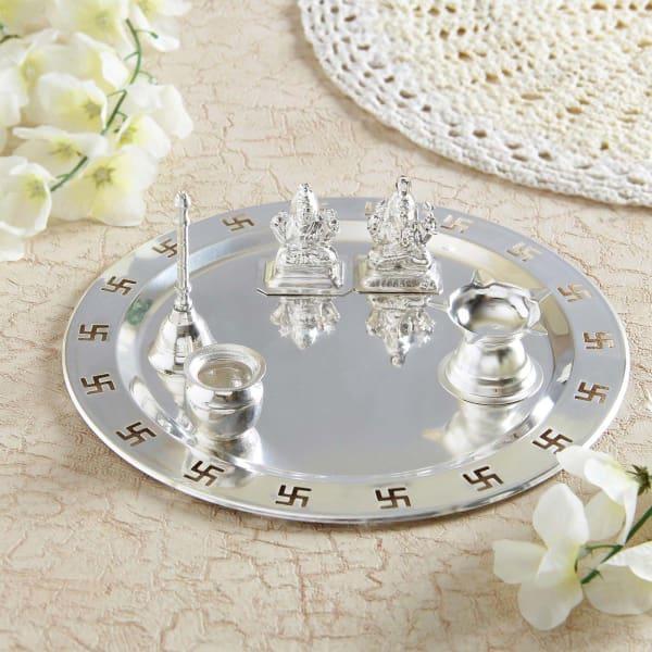 Silver Plated Laxmi Ganesha with Puja Thali
