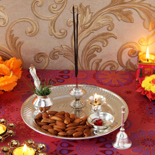 Silver Plated Pooja Thali with Almonds