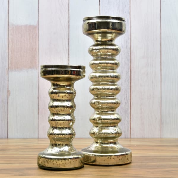 Silver Plated Small & Big Candle Stand Set