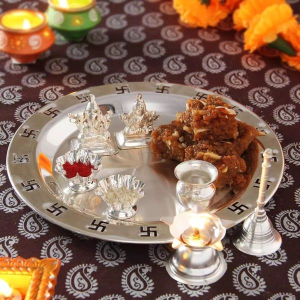 Silver Thali, Laxmi-Ganesh with Sweets