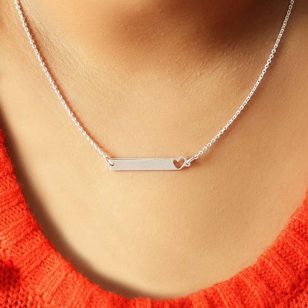 Silver Toned Rectangular Pendant with Heart Design