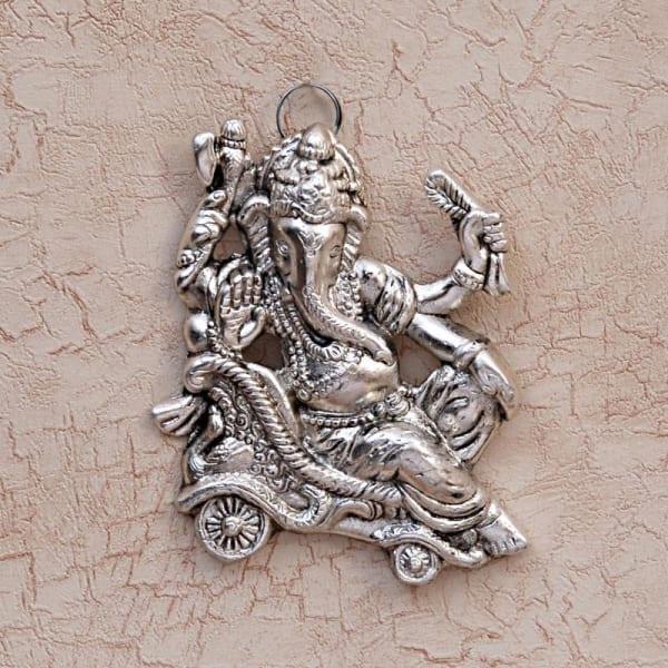 Singhasan Ganesha White Metal Wall Hanging 5 Inch.