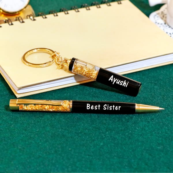 Sister Personalized Pen And Keychain Set