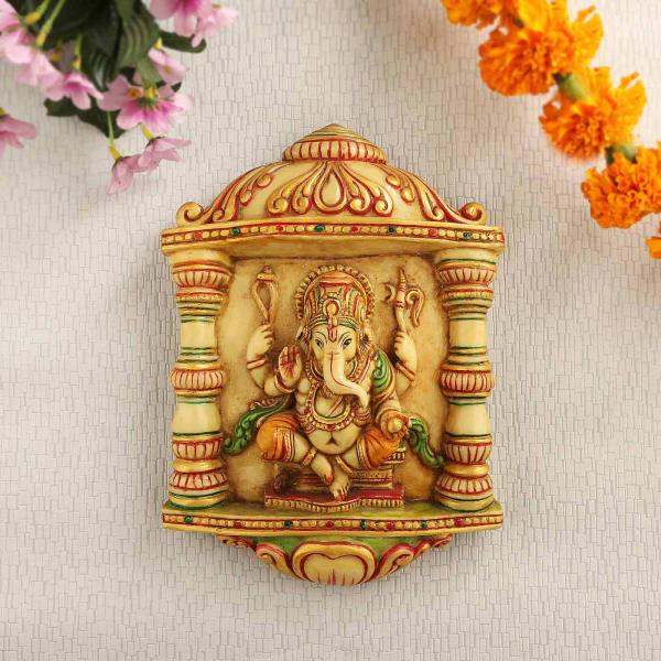 Sitting Ganesha Hand Painted Wall Decor Idol