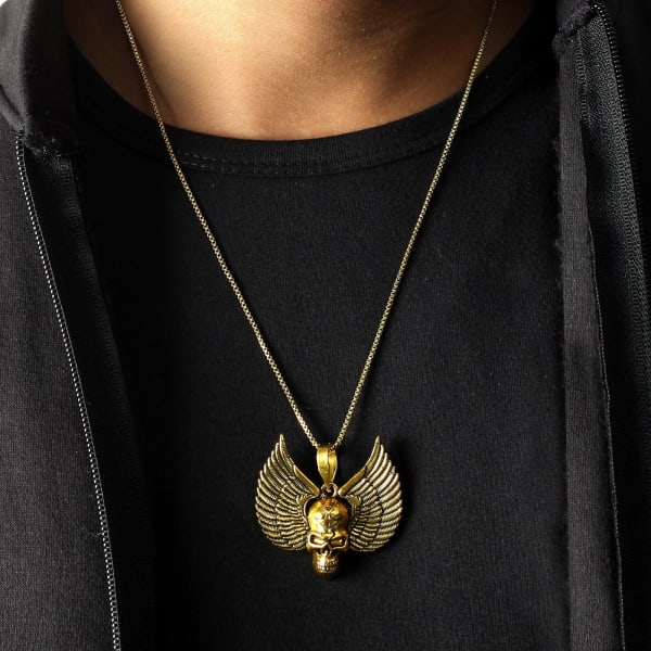 Skull with Wings Oxidised Gold Finish Men's Pendant