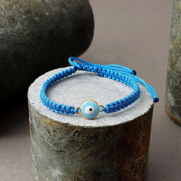 Sky Blue String Evil Eye Bracelet Rakhi