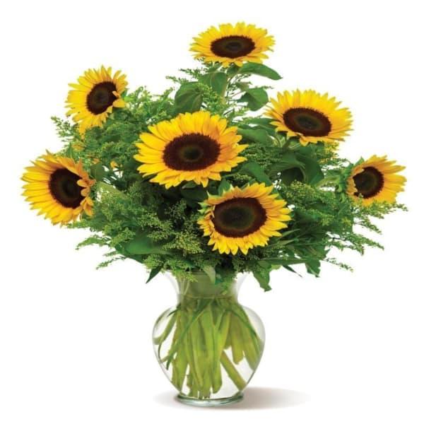 Snazzy Sunflowers - Glass Vase Arrangement