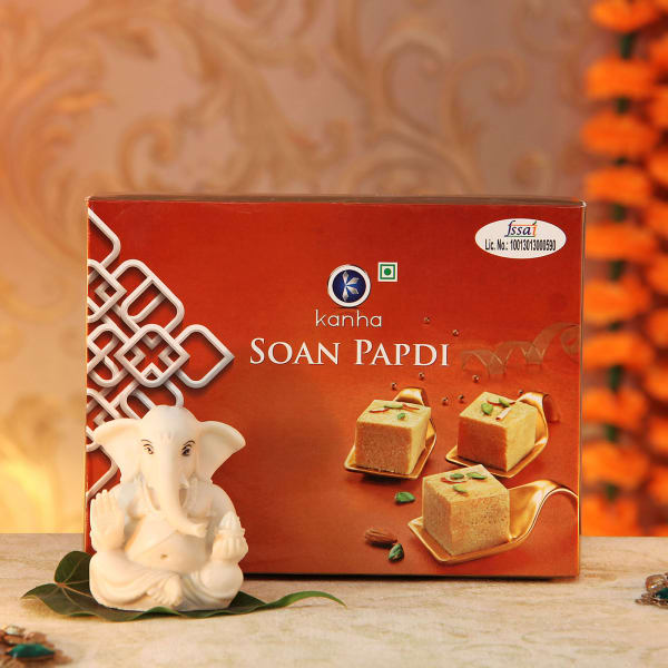Soan Papdi with Marble Ganesha