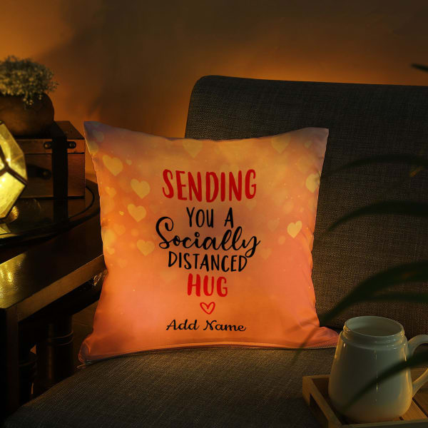 Socially Distanced Hug Romantic Personalized  Led Cushion
