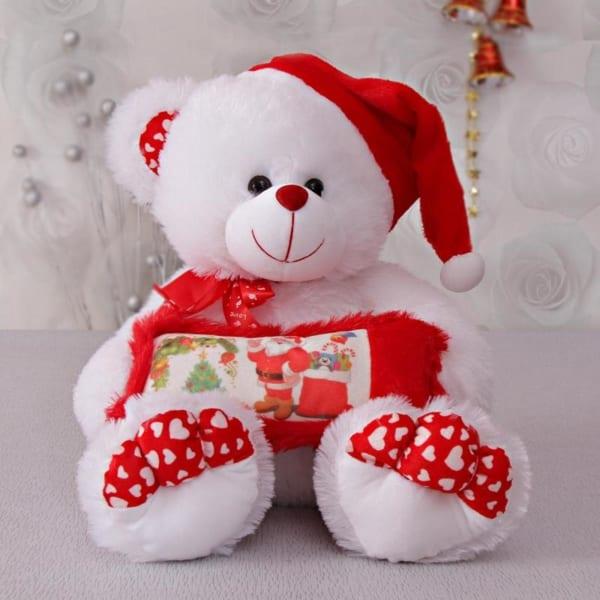 Soft Fur Teddy With Santa Cap