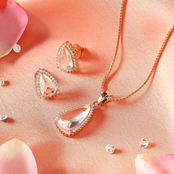 Solitaire Stones Pendant and Earrings Set