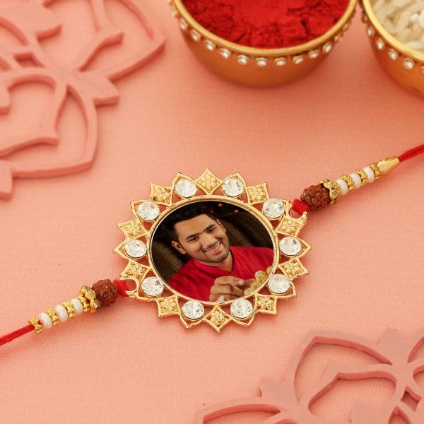 Splendid Personalized Rakhi Designed with white stones