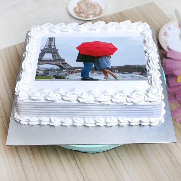 Square Shaped Vanilla Personalised Photo Cake (1 Kg)
