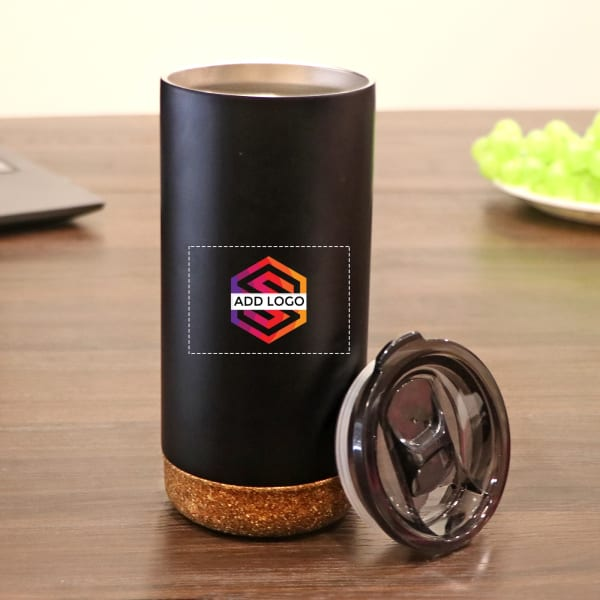 Stainless Steel Mug with Cork Coaster - Customized with Logo