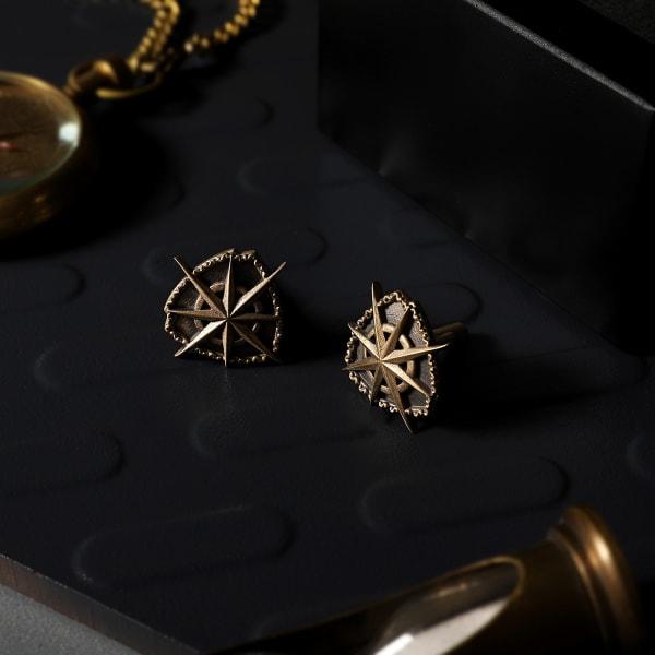 Star And Shield Brass Cufflinks For Men