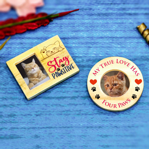Stay Pawsitive Cat Lovers Personalized Photo Magnets (Set of 2)