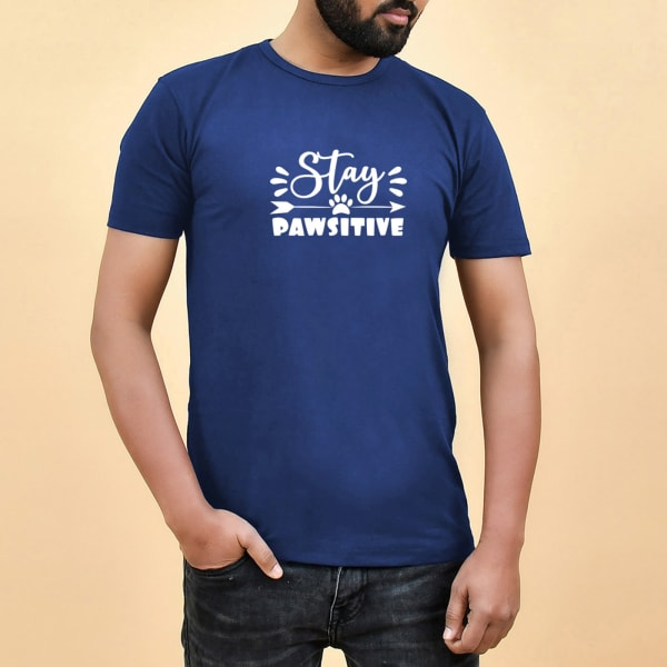 Stay Pawsitive Navy Blue T-shirt