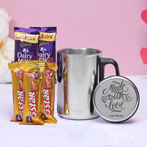 Steel Jar with Personalized Lid & Cadbury Chocolates Hamper