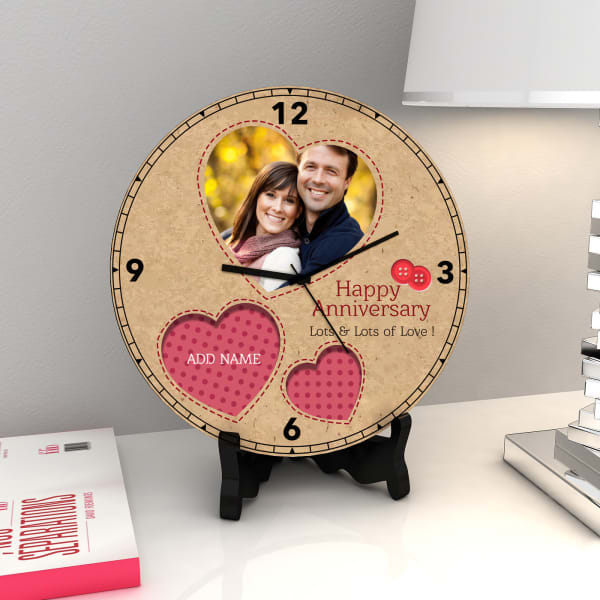 Stitches and Buttons Personalized Anniversary Clock