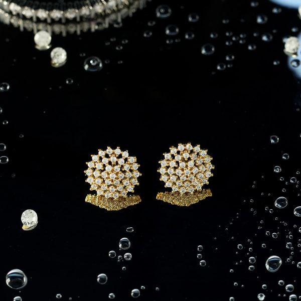 Stone Studded Floral Shaped Earrings