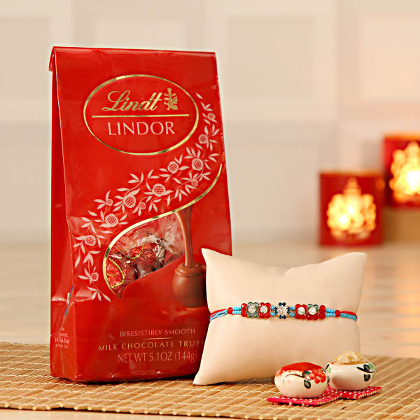 Stone Work Rakhi With Lindt Chocolate Pack And Roli Chawal Kit