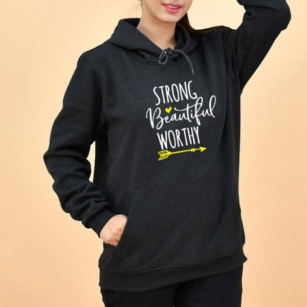 Strong Beautiful Worthy Grey Hoodie for Women