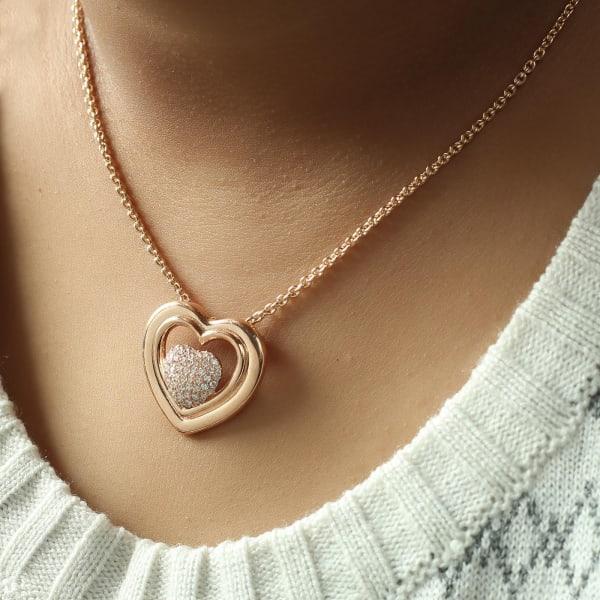 Studded Heart Shape Rose Gold Finish Pendant Necklace