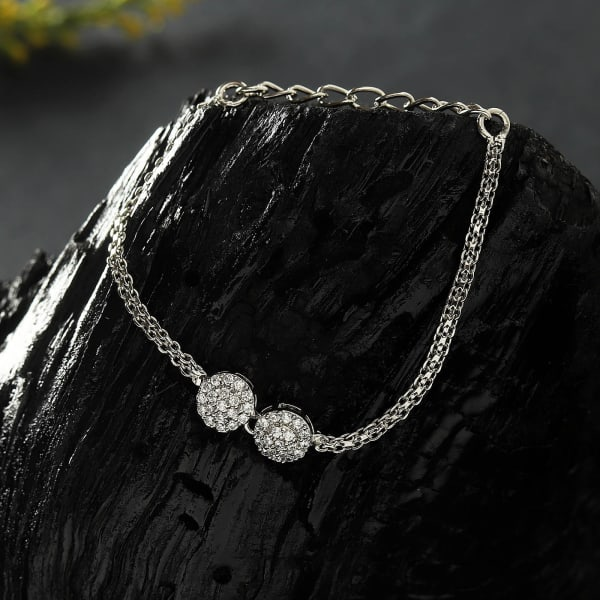 Stunning CZ Stones Silver Finish Bracelet