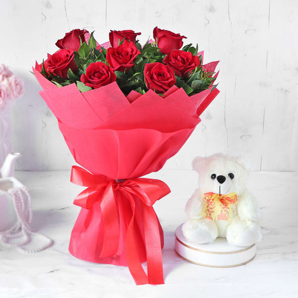 Stunning Red Rose Bouquet with Teddy