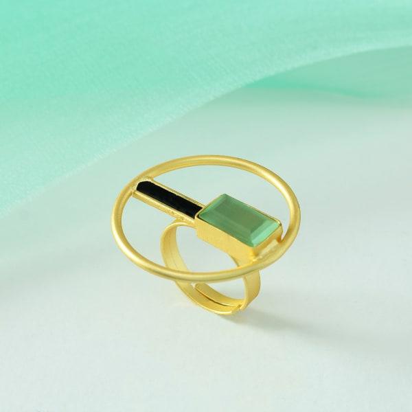 Stylish Adjustable Handmade Ring in Brass with Semi Precious Stone