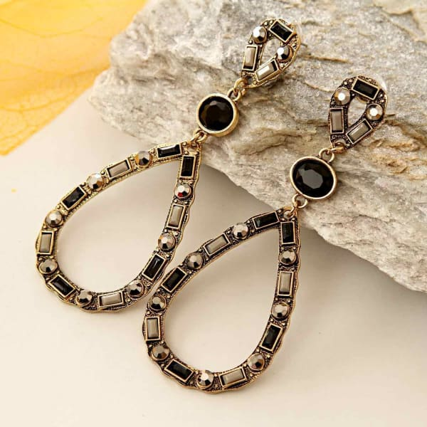 Stylish Black and Coffee Colored Drop Earrings