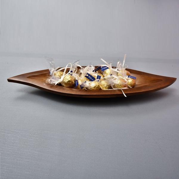 Stylish Leaf Shape Wooden Platter with Chocolate Truffles