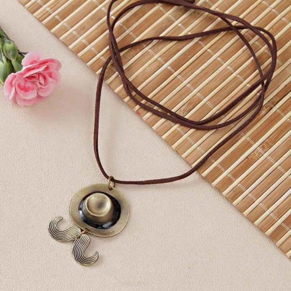 Stylish Moustache Hat Shaped Pendant with Leather String