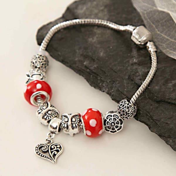 Stylish Silver-Red Bracelet