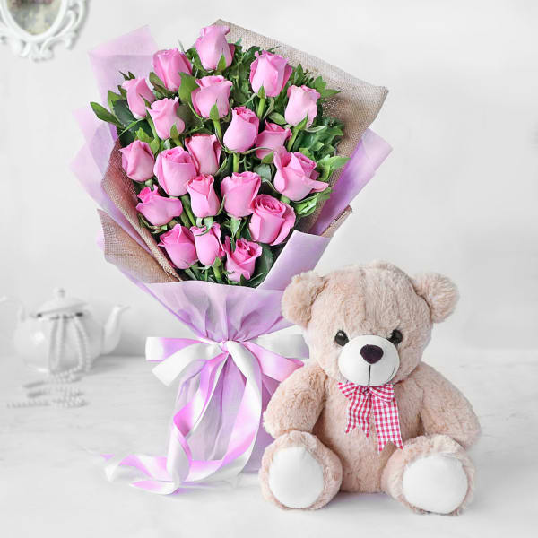 Subtle Pink Rose Bouquet with Teddy Bear