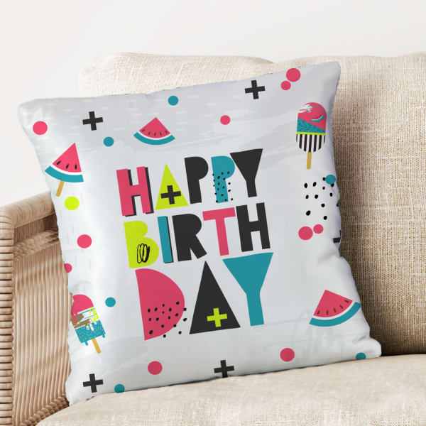 Summer Vibe Pop Colored Birthday Cushion