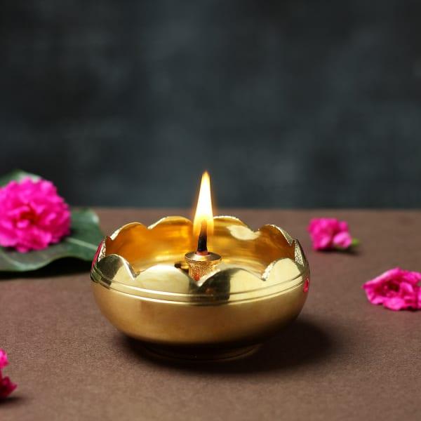 Sunflower Shaped Jyoti Diya in Golden Brass Finish